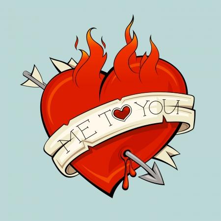hemorragias: Corazón ardiente con la flecha y cinta, estilo del tatuaje.
