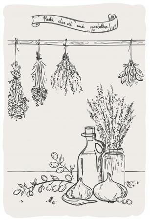 flores secas: Gráfico Bodegón con fijaciones hierbas y aceite de oliva con verduras.
