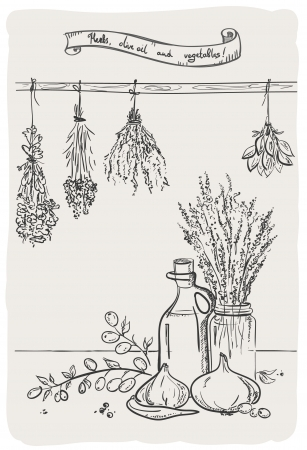 Graphic still life with bindings herbs and olive oil with vegetables. Vector