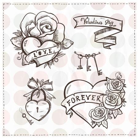 Old school Grafik Herzen mit Rosen und Bändern.