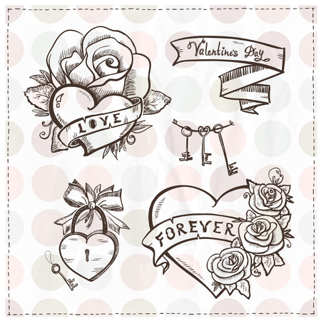 Old school graphic hearts with roses and ribbons.