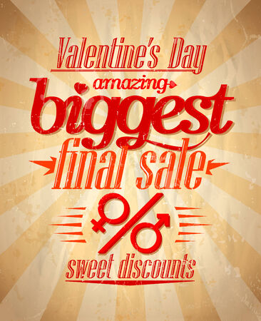 Valentine`s day biggest sale typographic design.  Vector