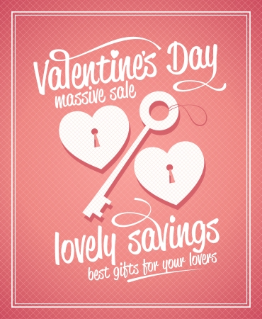 Valentine`s day massive sale typographic design with key and hearts. Vector