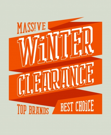 Winter clearance sale design in retro style on a ribbon. Vector