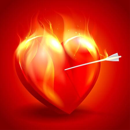 burning heart: Burning heart with arrow. Eps10