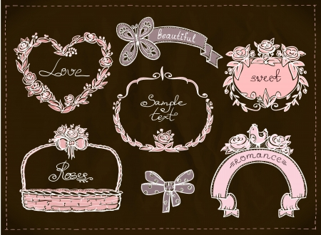 Wedding hand drawn graphic set, retro style. Eps10. Vector