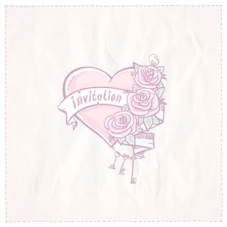 Wedding invitation card with heart, roses and ribbon. Eps10 Vector
