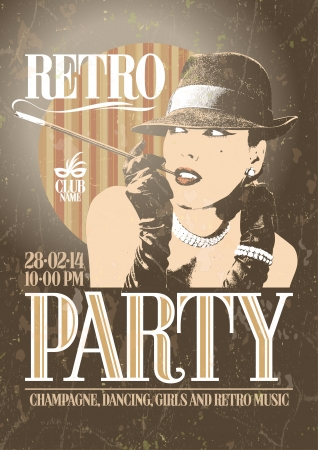 Retro party poster with old-fashioned smoking woman in a hat. EPS10 Vector