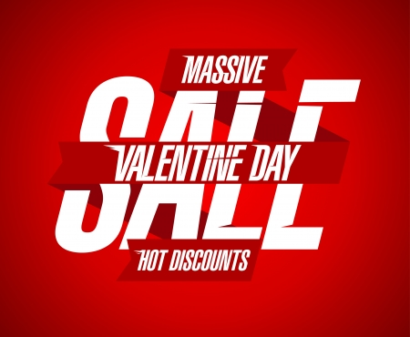 Valentine`s day discounts red design with ribbon. Vector