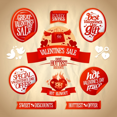 Valentine`s day sale designs and stickers collection in retro style.  Eps10. Vector