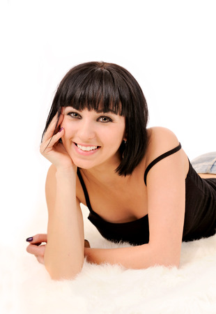 Portrait of young smiling woman with perfect straight white teeth. photo