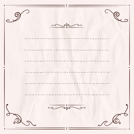 Handdrawn frame with antique curls on a paper.  Illustration