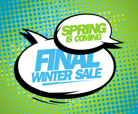 Spring is coming, final winter sale design with balloons. Vector