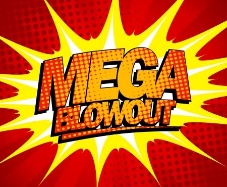 Explosieve mega blowout ontwerp in pop-art stijl.