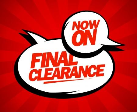 Finální clearance design v pop-art stylu. Ilustrace