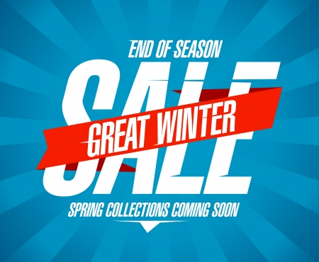 Great winter sale design in retro style. Vector