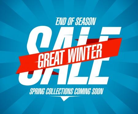 great: Great winter sale design in retro style.