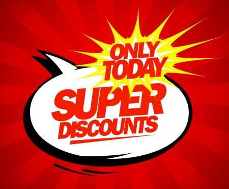 promotion icon: Super discounts design in pop-art style.