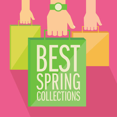 Best spring collections flat design. Hands with paper shopping bags.