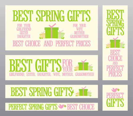 Best Spring gifts banners set. Vector