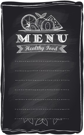 Chalk healthy food fruit menu, chalkboard background with place for text. Vector