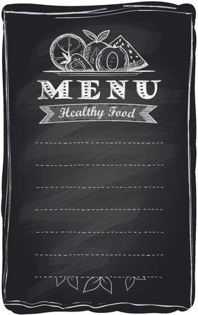 for text: Chalk menu di cibo frutta sano, sfondo lavagna con posto per il testo. Vettoriali