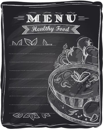 Chalk healthy food menu, chalkboard background with soup and place for text. Vector
