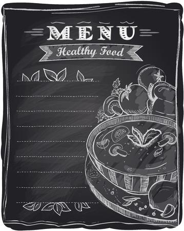 Tiza menú de comida sana, fondo de la pizarra con la sopa y el lugar de texto. Ilustración de vector