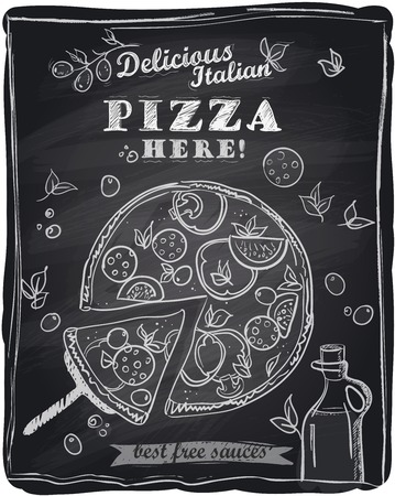 pizza ingredients: Chalk pizza with the cut off slice, chalkboard background.