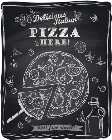 lavagna: Gesso pizza con la fetta tagliata, sfondo lavagna.