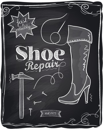 cobbler: Shoe repair chalkboard background. Illustration