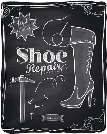 craftsmen repair: Shoe repair chalkboard background. Illustration