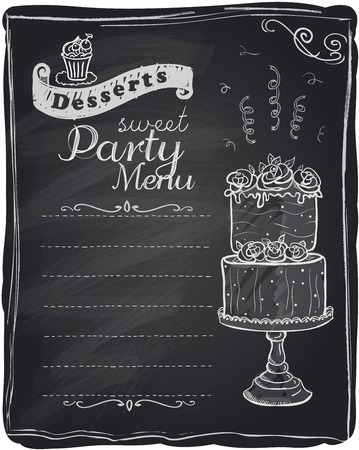 Chalk desserts party menu, chalkboard background. Vector