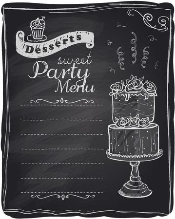 Chalk desserts party menu, chalkboard background. Vector