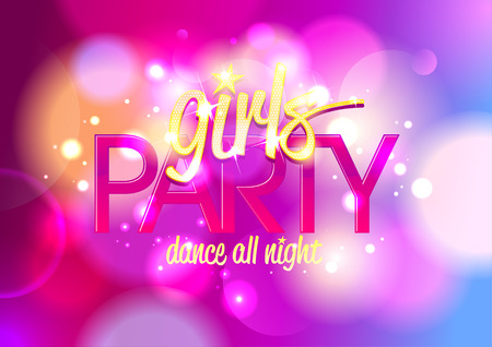 Girl`s party invitation or banner on a bokeh background Ilustracja