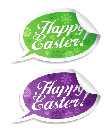 Happy Easter stickers in form of speech bubbles. Vector