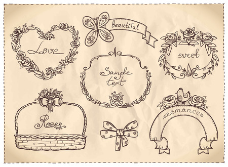 Retro style wedding hand drawn graphic set on a paper Vector