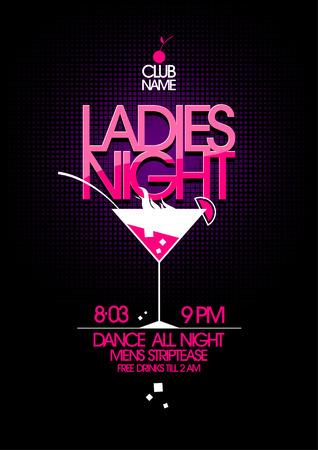 Diseño de la fiesta Ladies night con un vaso de martini.