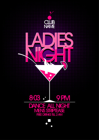 noche: Diseño de la fiesta Ladies night con un vaso de martini. Vectores