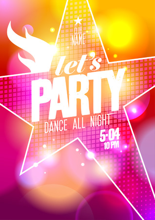 Let`s party design with big star on a bokeh background