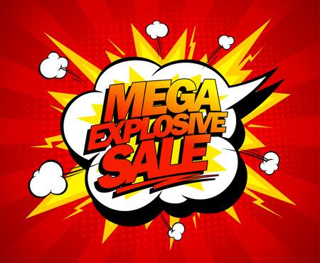 Mega explosieve verkoop design, comics stijl. Stock Illustratie