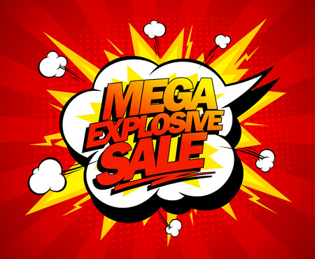Mega explosive sale design, comics style. Illustration