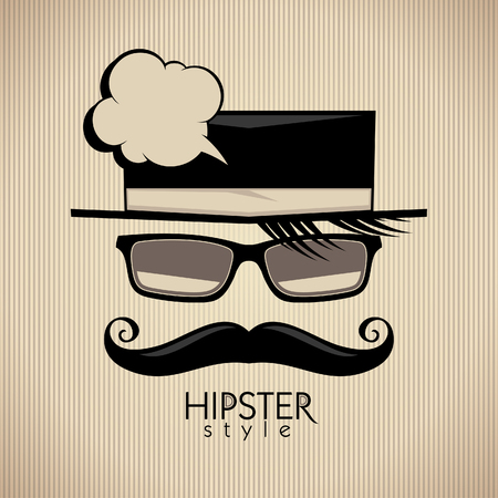 Hipster style background with mustached man and speech bubble. Illustration