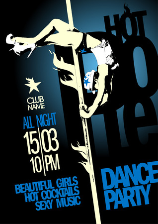 Hot pole dance party design template. Vector