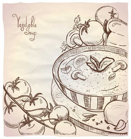herbs of provence: Graphic illustration of vegetable soup with tomatoes and mushrooms