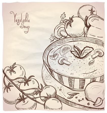Ilustración gráfica de sopa de verduras con tomate y champiñones