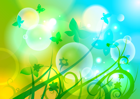 Spring background with butterflies, flowers and bokeh lights.