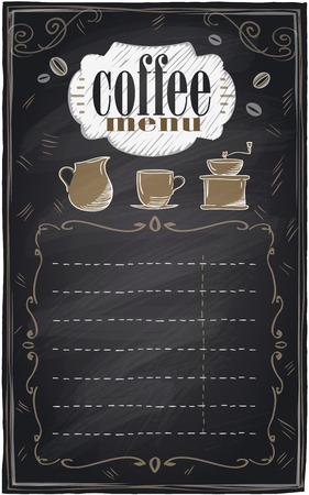 Vintage chalk coffee menu with place for text, chalkboard background.  Vector
