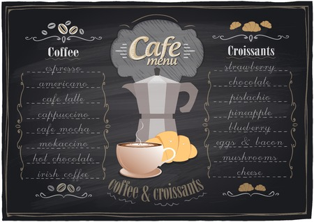 Vintage chalk coffee and croissants menu, chalkboard background. Illustration