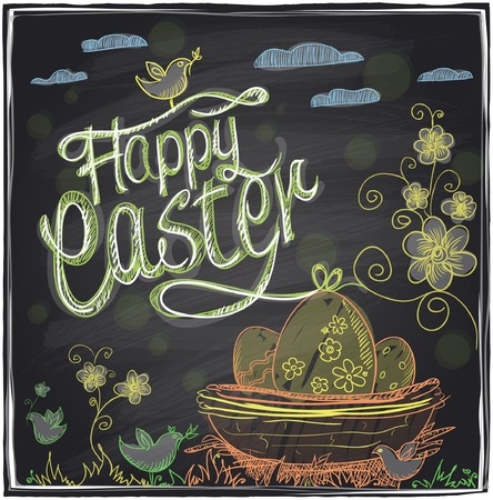 Easter hand drawn graphic on a chalkboard. Vector